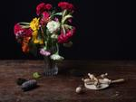 Justine Reyes: Still Life with Chicken Game and Flowers